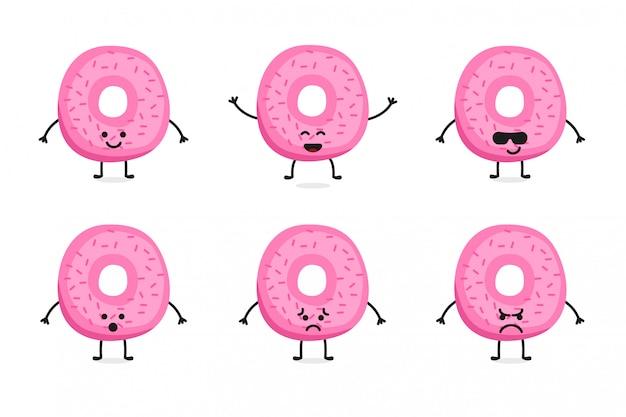 Flat cute donut character und maskottchen