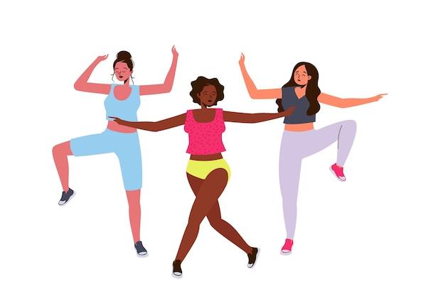 Flat dance fitness klasse illustriert