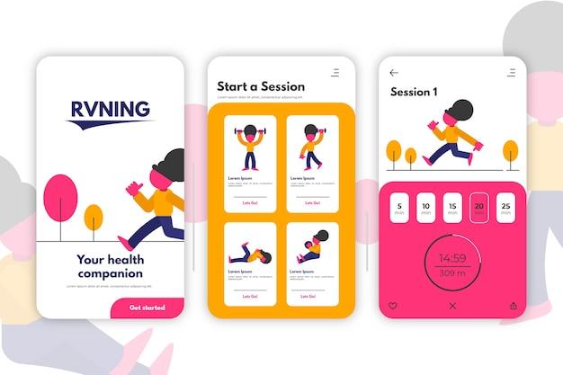 Flat design benutzeroberfläche der work out tracker app