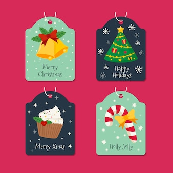 Flat design christmas label collection