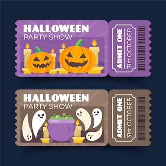 Flat design halloween tickets pack