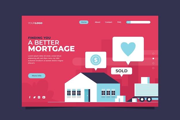Flat design hypothek landing page vorlage