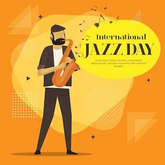 Flat design internationala jazz day design