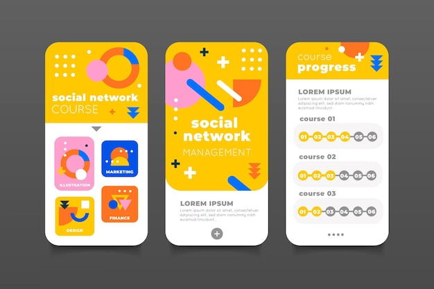 Flat design kurs app set