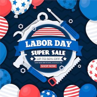 Flat design labor day sale in den usa