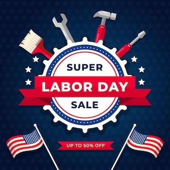 Flat design labor day sale