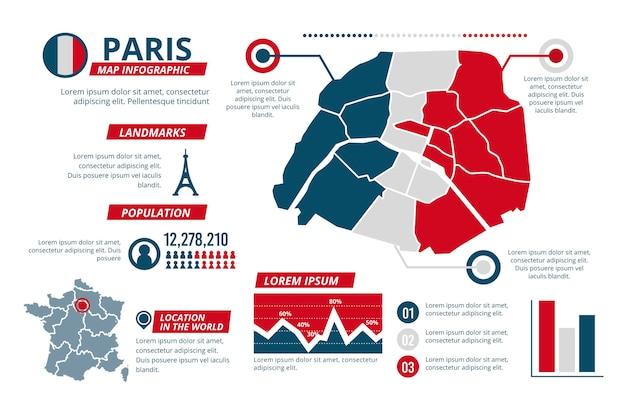 Flat design paris karte infografiken
