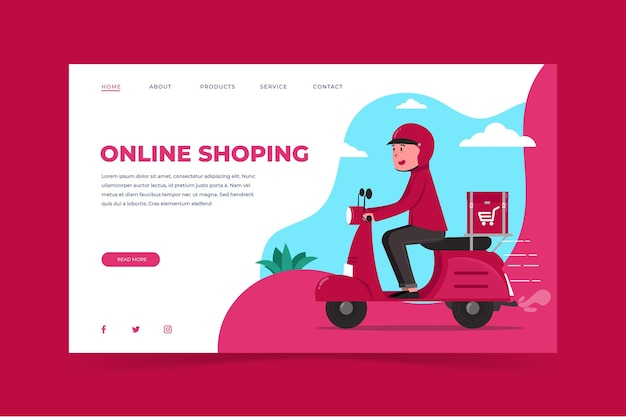 Flat design shopping online-homepage