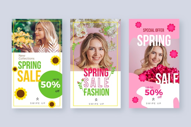 Flat design spring sale instagram geschichten