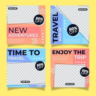 Flat design travel instagram beiträge
