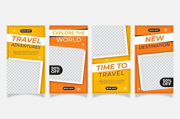 Flat design travel instagram geschichten Kostenlosen Vektoren