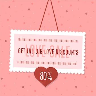 Flat design valentinstag verkauf