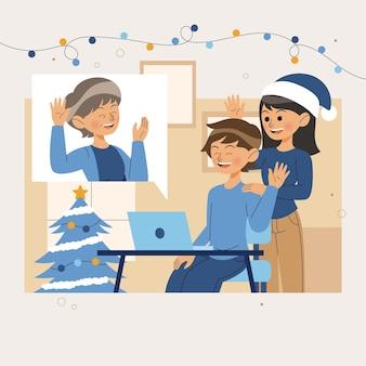 Flat design weihnachtsfamilie videoanruf mit laptop