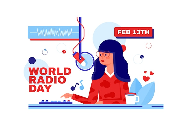 Flat design world radio day charakter sprechen