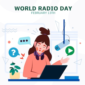 Flat design world radio day online-podcast