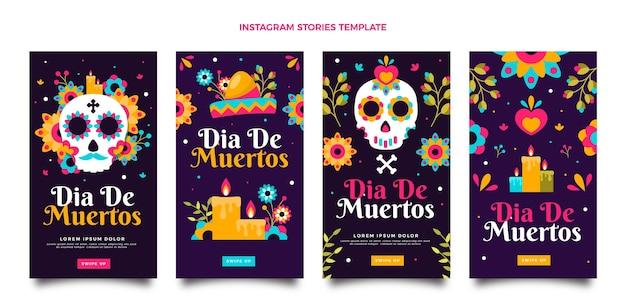 Flat dia de muertos instagram-geschichtensammlung
