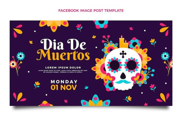 Flat dia de muertos social-media-beitragsvorlage