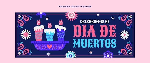 Flat dia de muertos social-media-cover-vorlage