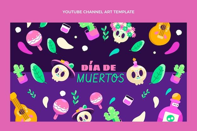 Flat dia de muertos youtube channel art