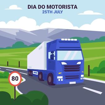 Flat dia do motorista illustration mit lkw