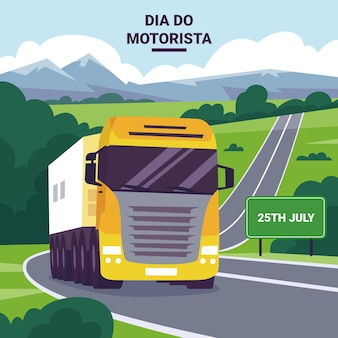 Flat dia do motorista illustration mit lkw