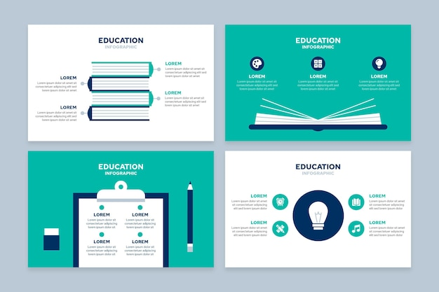 Flat education infografiken konzept