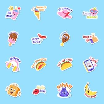 Flat food sticker im bearbeitbaren stil
