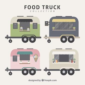 Flat food trucks mit vintage-stil