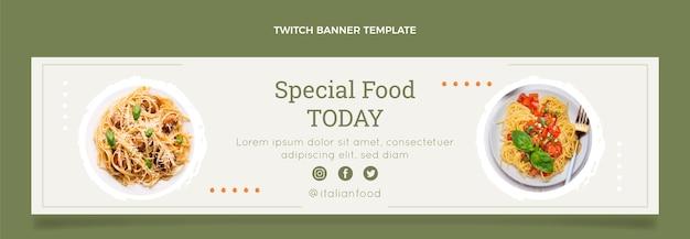 Flat food twitch-banner-vorlage
