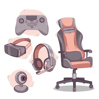 Flat game streamer konzeptelemente