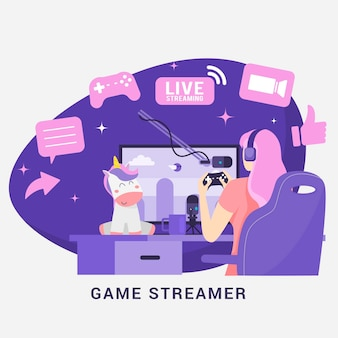 Flat game streamer konzeptelemente