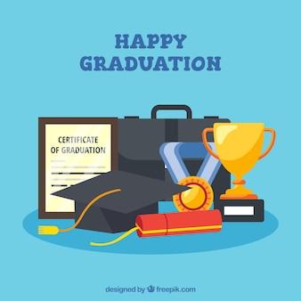 Flat graduation hintergrund mit dekorativen elementen