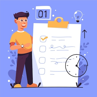 Flat-hand gezeichnetes zeitmanagementkonzept