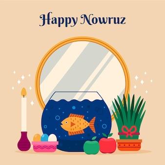 Flat happy nowruz feiern