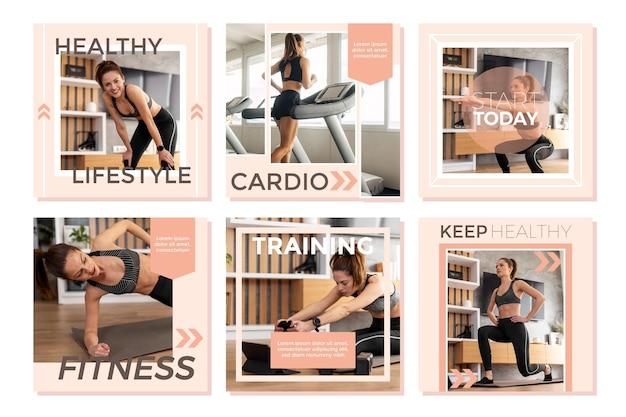 Flat health & fitness instagram post pack