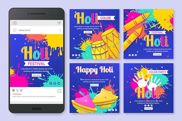 Flat holi festival instagram beiträge sammlung