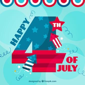 Flat independence day hintergrund mit lächelnden feuerwerkskörper
