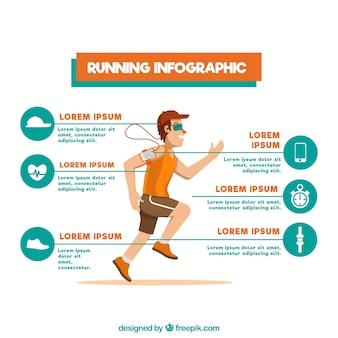 Flat infografische vorlage mit mann läuft und verschiedene optionen