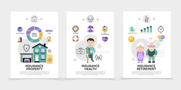 Flat insurance service broschüren