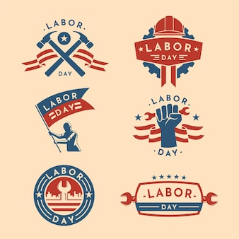 Flat labour day usa etikettenkollektion