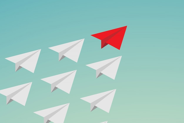 Flat leadership teamwork und mut. rotes papierflugzeug und viele weiße am himmel