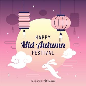 Flat mid autumn festival