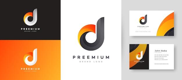 Flat minimal initial d dd letter logo mit premium-visitenkarten-design-vorlage für ihr unternehmen