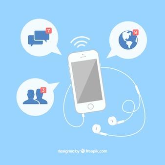Flat mobile mit facebook-benachrichtigungen