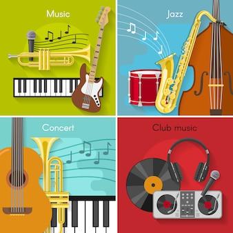 Flat music elements set