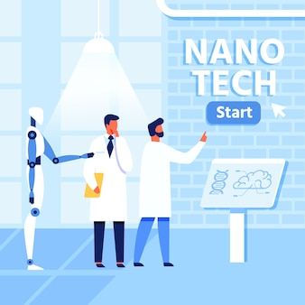 Flat nano tech research lab, wissenschaftler und roboter