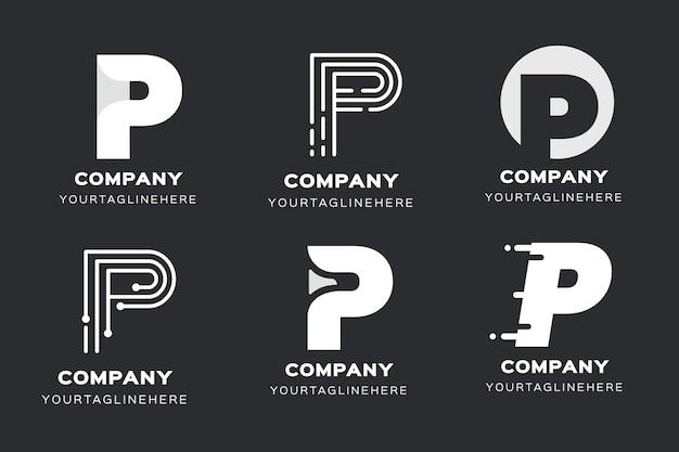 Flat p logo vorlagen sammlung