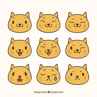 Flat pack von niedlichen katze emojis