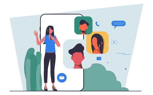 Flat people charakter business team meeting über eine videokonferenz telefon flat people design gehalten.