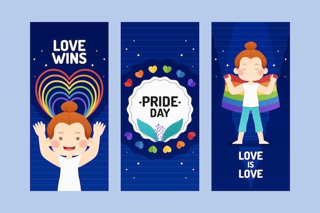 Flat pride day instagram geschichten sammlung